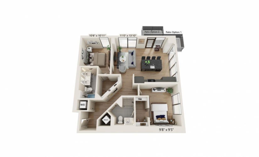 PH-01 - 2 bedroom floorplan layout with 2 baths and 1068 square feet.