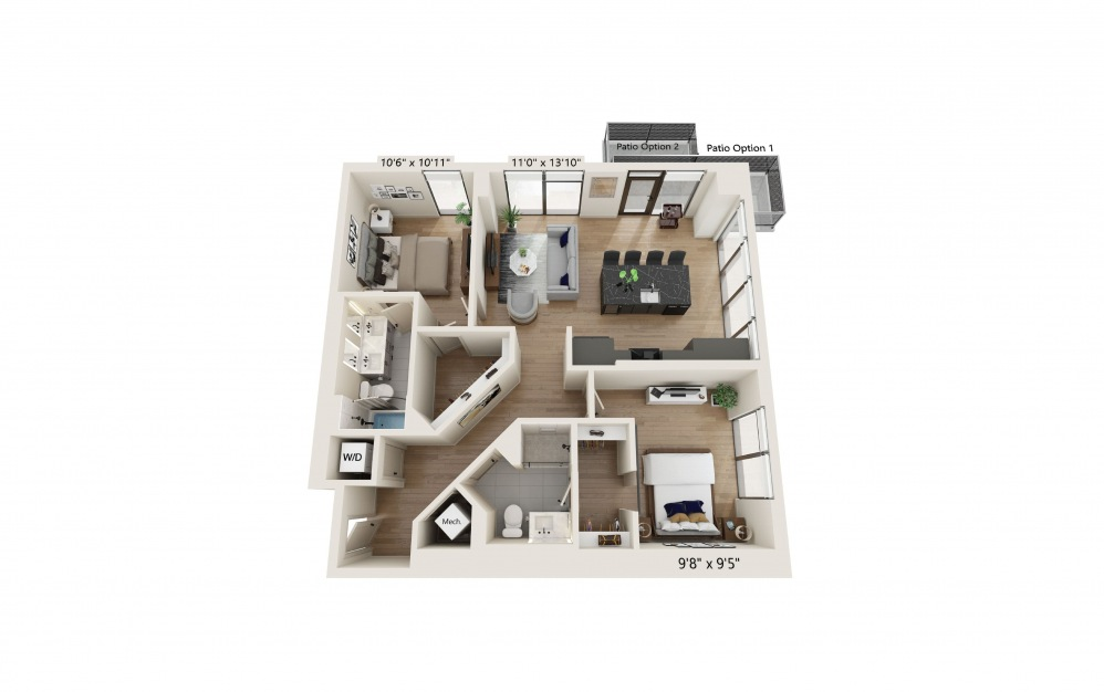 PH-01 - 2 bedroom floorplan layout with 2 baths and 1068 square feet. (Preview)