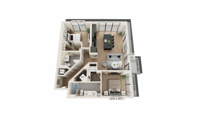 PH-02 - 2 bedroom floorplan layout with 2 baths and 1110 to 1112 square feet.
