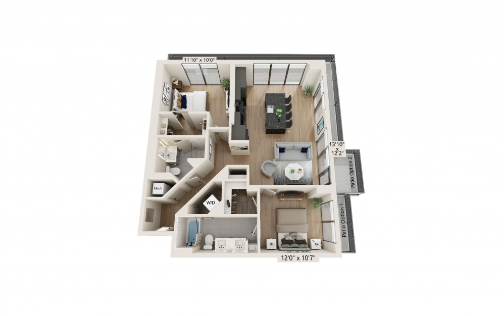 PH-02 - 2 bedroom floorplan layout with 2 baths and 1110 to 1112 square feet. (Preview)