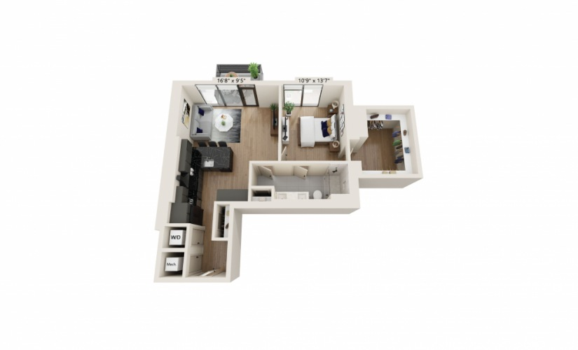 PH-03 - 1 bedroom floorplan layout with 1 bath and 856 square feet.