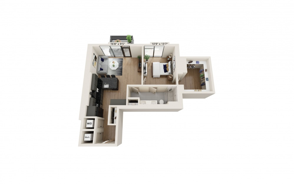 PH-03 - 1 bedroom floorplan layout with 1 bath and 856 square feet. (Preview)