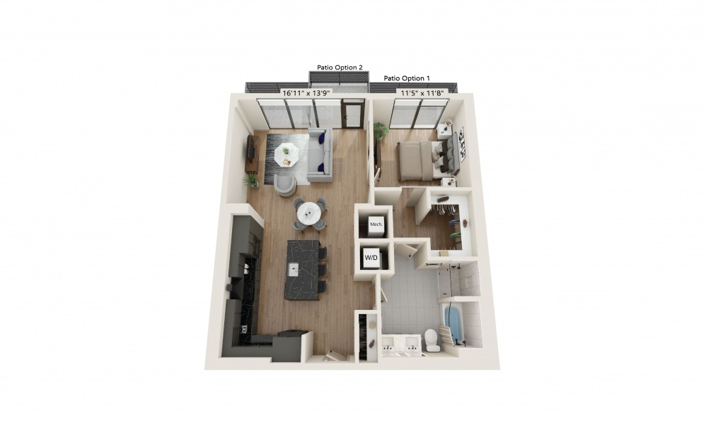 PH-04 - 1 bedroom floorplan layout with 1 bath and 963 square feet. (Preview)