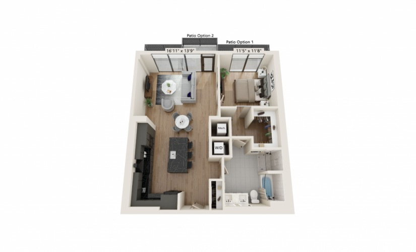 PH-04 - 1 bedroom floorplan layout with 1 bath and 963 square feet.