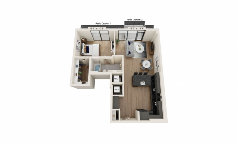 PH-05 - 1 bedroom floorplan layout with 1 bath and 786 square feet.