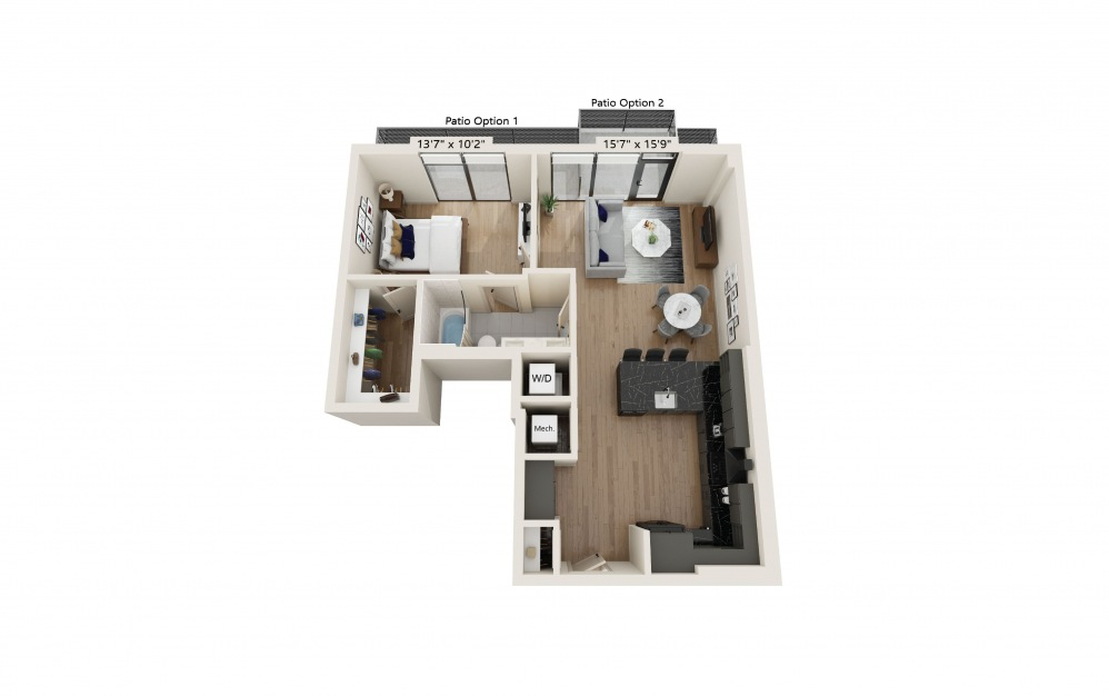 PH-05 - 1 bedroom floorplan layout with 1 bath and 786 square feet. (Preview)