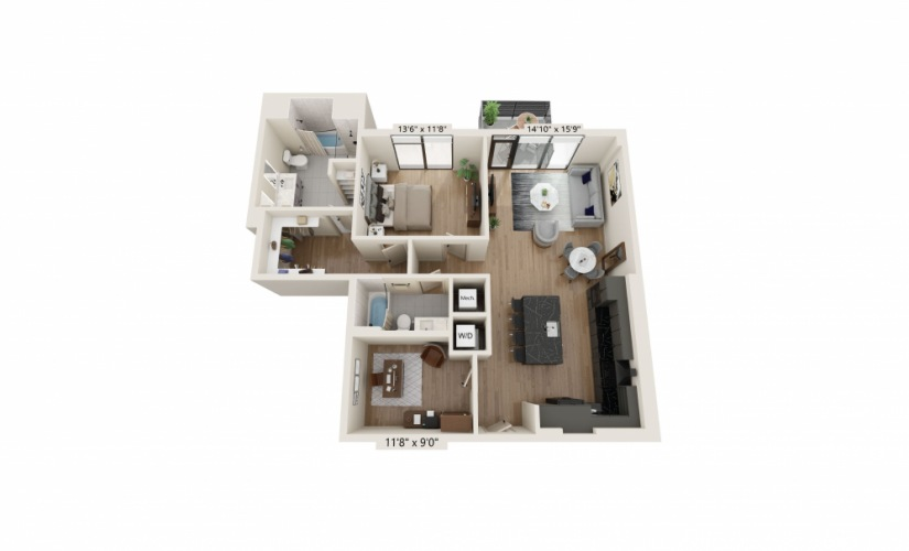 PH-06 - 1 bedroom floorplan layout with 2 baths and 1161 square feet.