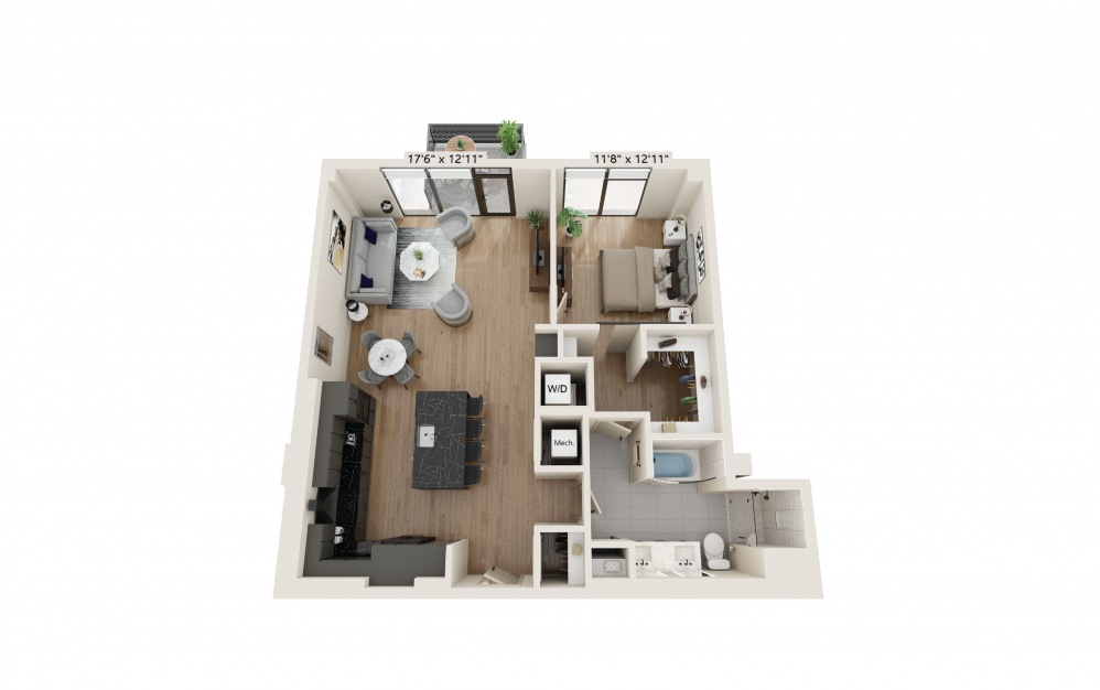 PH-07 - 1 bedroom floorplan layout with 1 bath and 991 square feet. (Preview)
