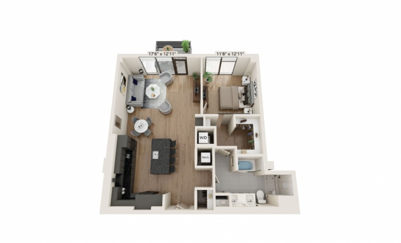 PH-07 - 1 bedroom floorplan layout with 1 bath and 991 square feet.