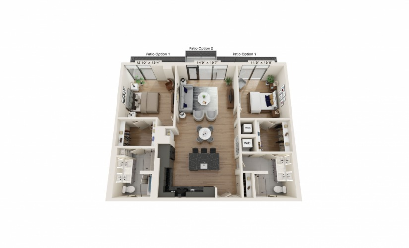 PH-08 - 2 bedroom floorplan layout with 2 baths and 1313 to 1326 square feet.