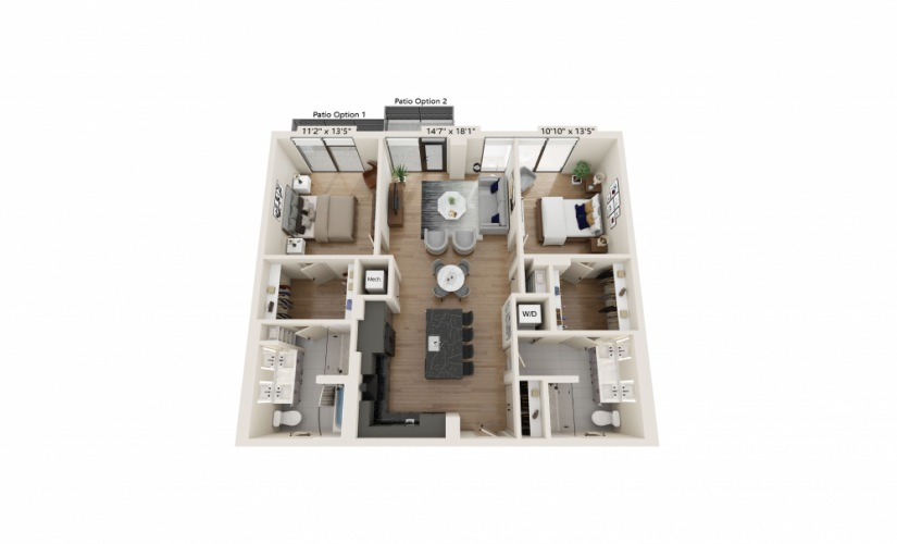 PH-10 - 2 bedroom floorplan layout with 2 baths and 1208 square feet.