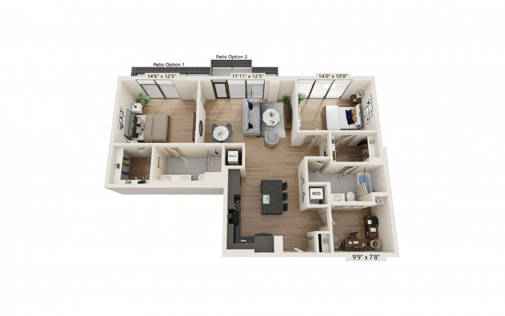 PH-13 - 2 bedroom floorplan layout with 2 baths and 1315 square feet. (Preview)