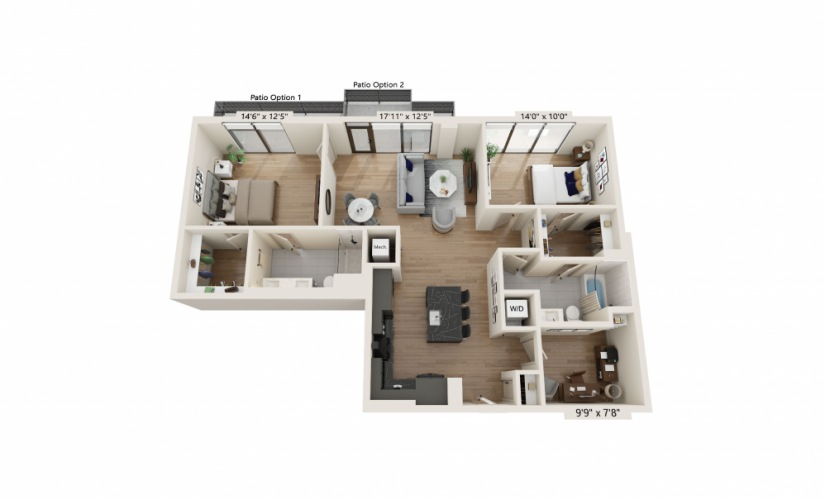PH-13 - 2 bedroom floorplan layout with 2 baths and 1315 square feet.