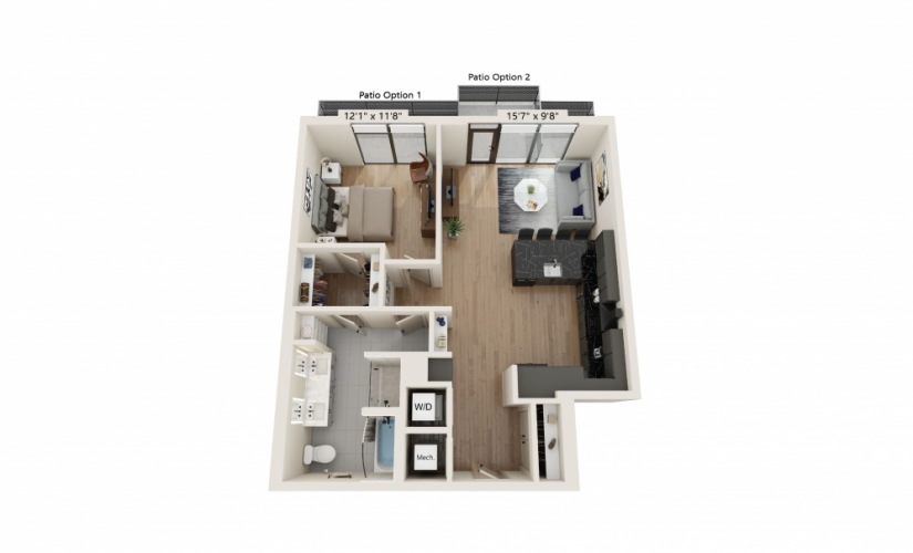 PH-15 - 1 bedroom floorplan layout with 1 bath and 920 square feet.