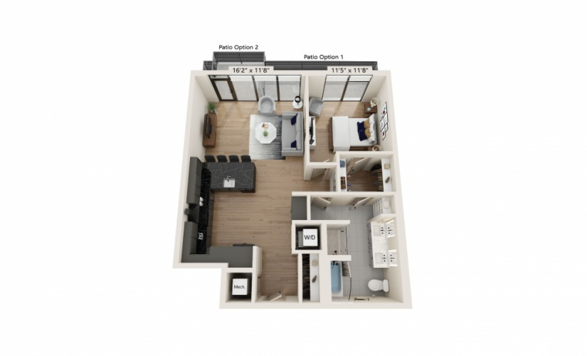 PH-14 - 1 bedroom floorplan layout with 1 bath and 923 square feet.