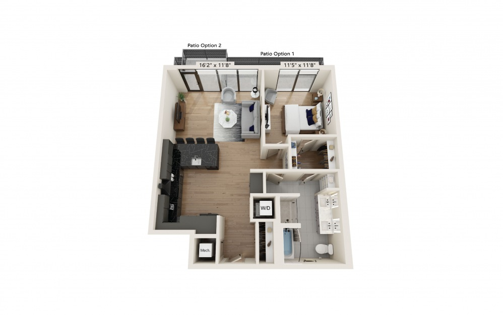 PH-14 - 1 bedroom floorplan layout with 1 bath and 923 square feet. (Preview)