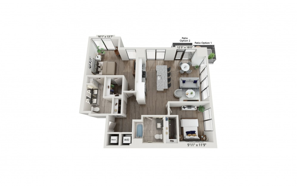 T-01 - 2 bedroom floorplan layout with 2 baths and 1254 square feet. (Preview)