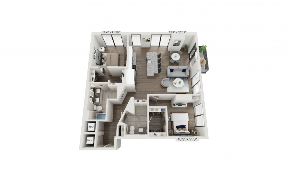 T-02 - 2 bedroom floorplan layout with 2 baths and 1257 square feet. (Preview)