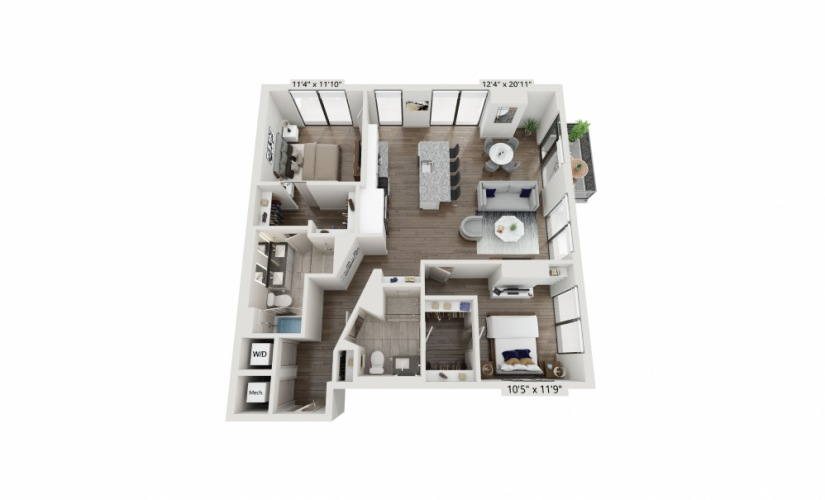 T-02 - 2 bedroom floorplan layout with 2 baths and 1257 square feet.