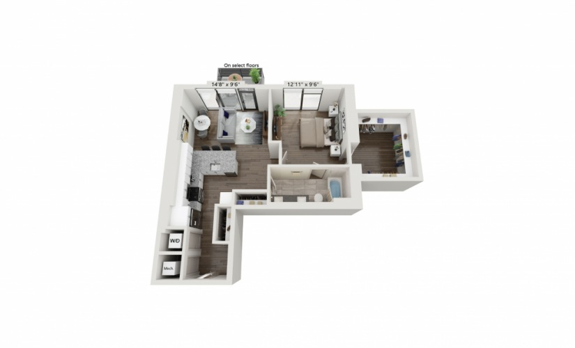 T-03 - 1 bedroom floorplan layout with 1 bath and 864 square feet.