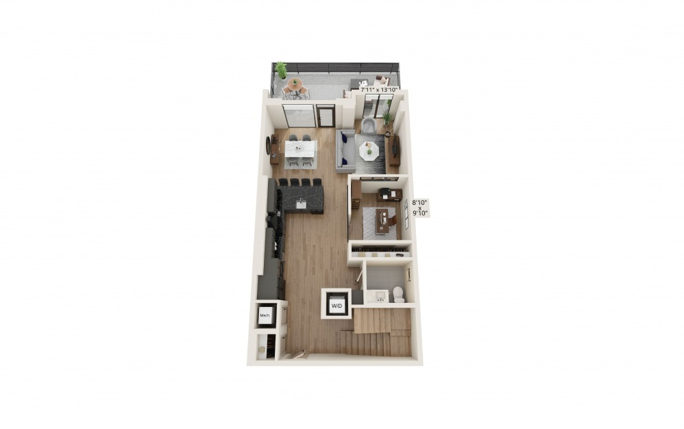 TH-05 - 2 bedroom floorplan layout with 2.5 baths and 1761 to 1815 square feet. (Preview)