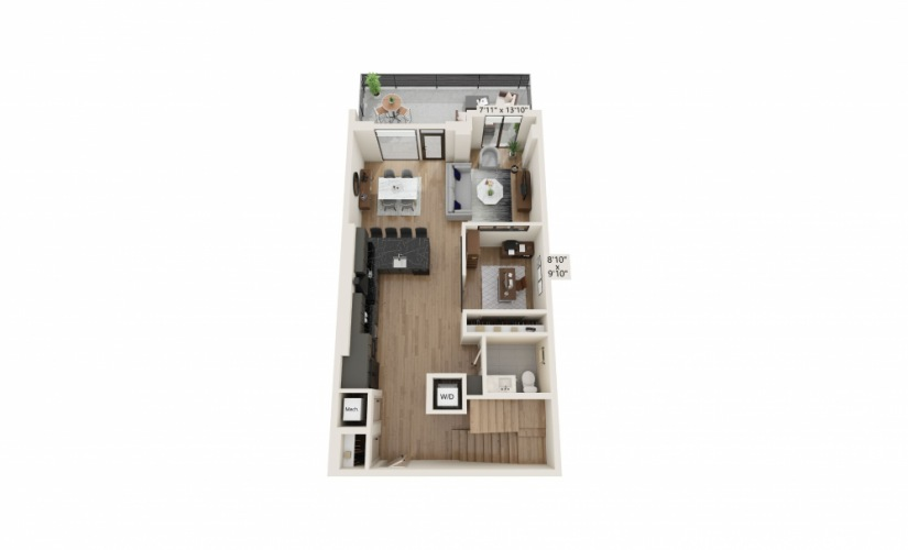 TH-05 - 2 bedroom floorplan layout with 2.5 baths and 1761 to 1815 square feet.