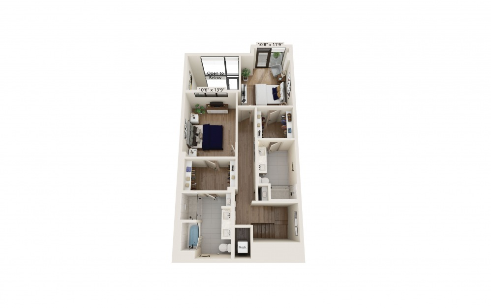 TH-05 - 2 bedroom floorplan layout with 2.5 baths and 1761 to 1815 square feet. (Floor 2)