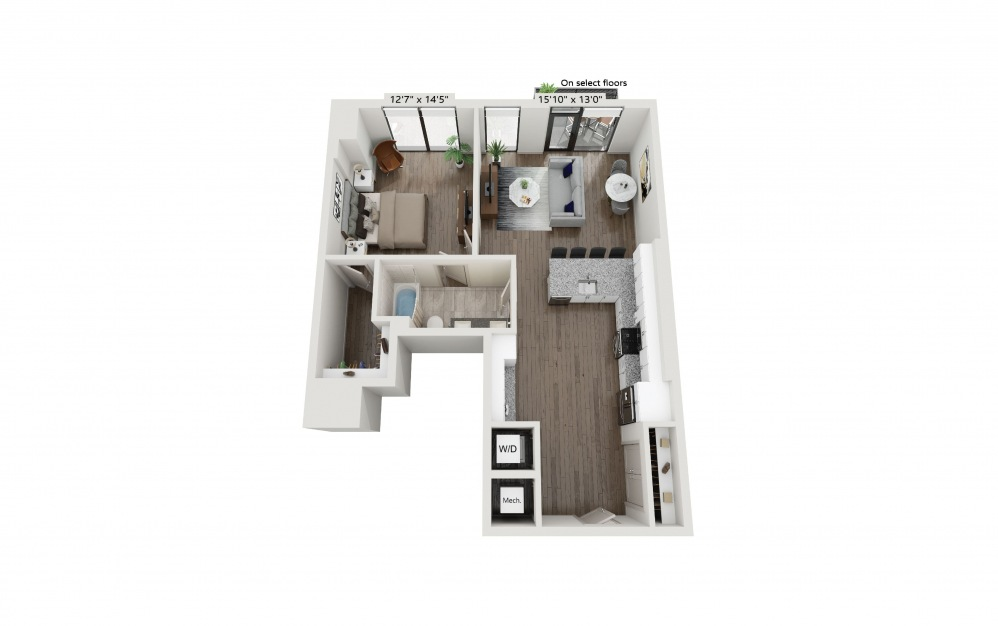T-06 - 1 bedroom floorplan layout with 1 bath and 906 square feet. (Preview)