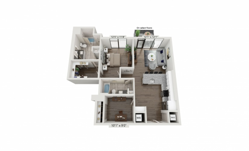 T-07 - 1 bedroom floorplan layout with 2 baths and 1116 square feet.