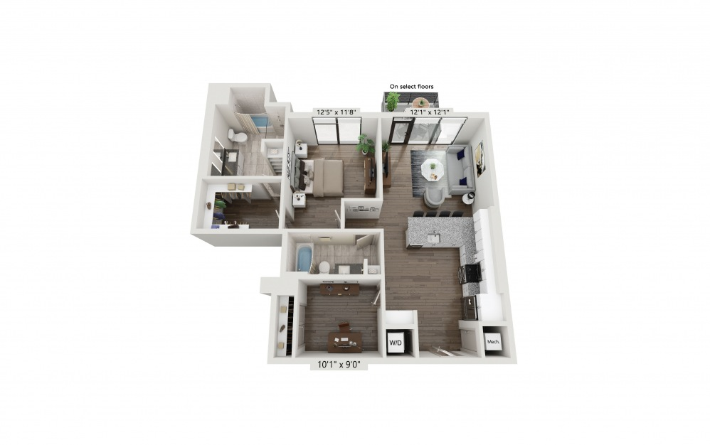 T-07 - 1 bedroom floorplan layout with 2 baths and 1116 square feet. (Preview)