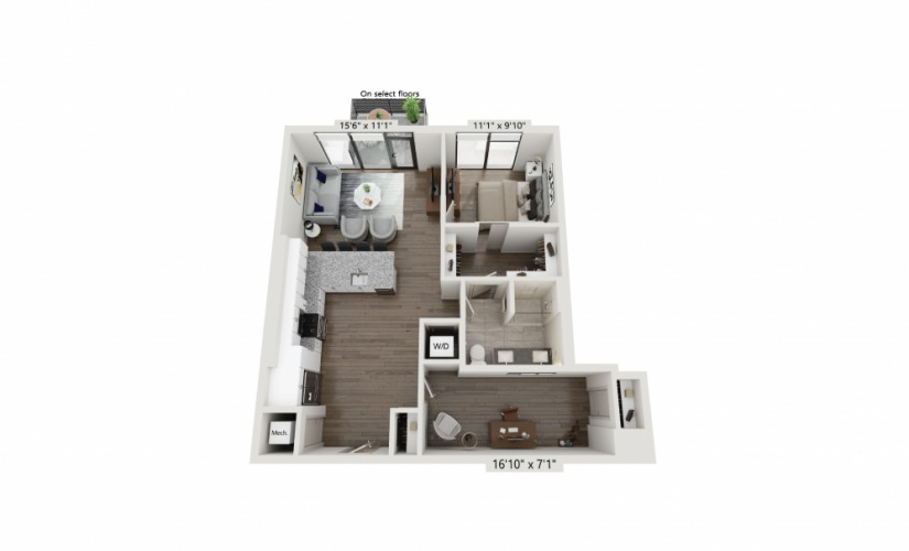 T-08 - 1 bedroom floorplan layout with 1 bath and 917 square feet.