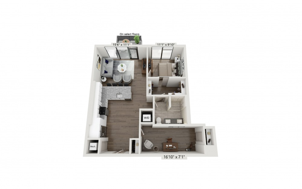T-08 - 1 bedroom floorplan layout with 1 bath and 917 square feet. (Preview)