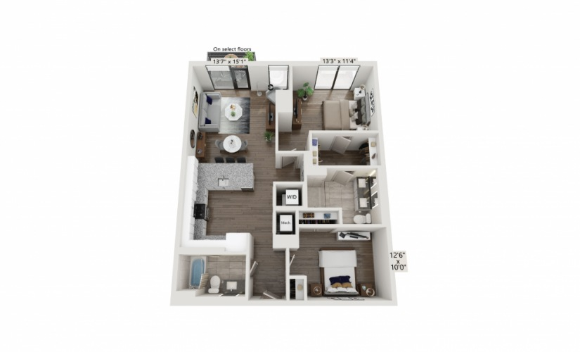 T-11 - 2 bedroom floorplan layout with 2 baths and 1118 square feet.