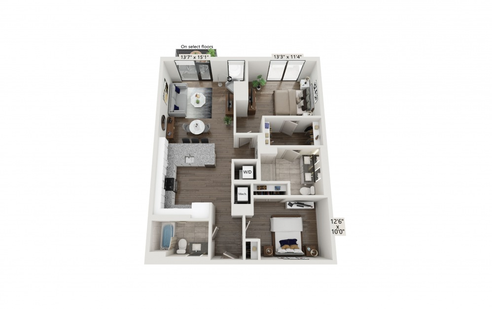 T-11 - 2 bedroom floorplan layout with 2 baths and 1118 square feet. (Preview)