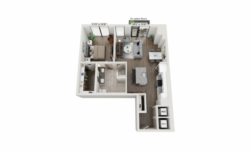 T-18 - 1 bedroom floorplan layout with 1 bath and 927 square feet.