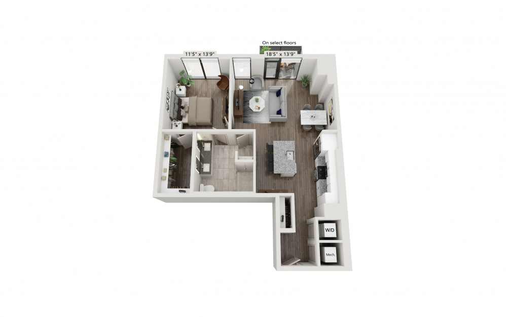 T-18 - 1 bedroom floorplan layout with 1 bath and 927 square feet. (Preview)