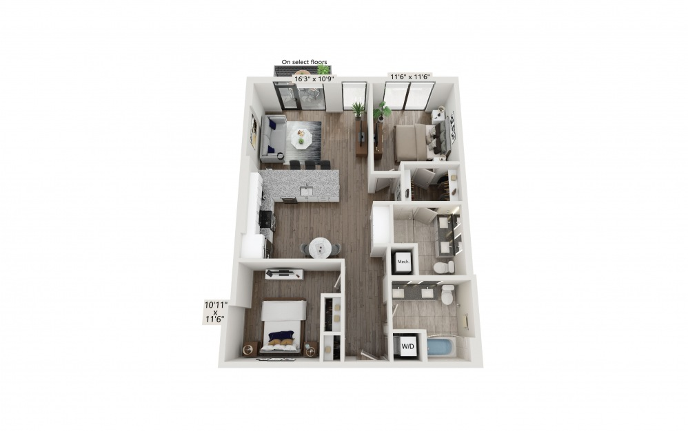 T-20 - 2 bedroom floorplan layout with 2 baths and 1115 square feet. (Preview)