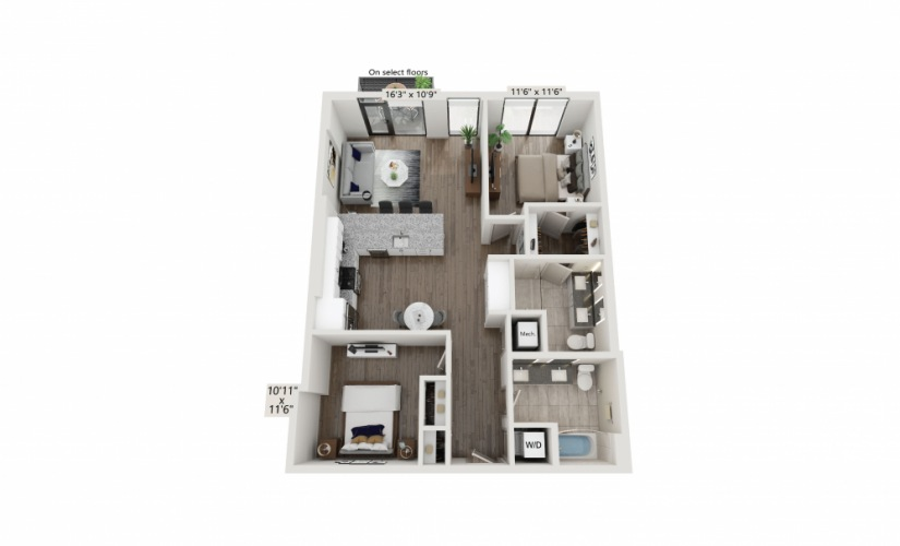 T-20 - 2 bedroom floorplan layout with 2 baths and 1115 square feet.