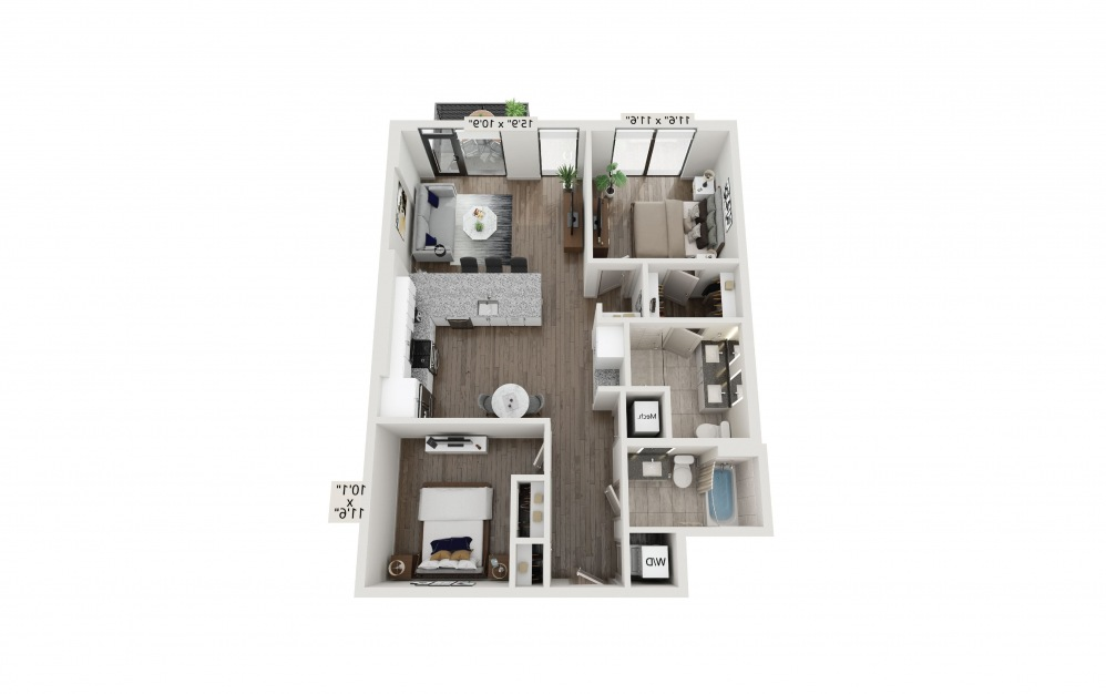 T-21 - 2 bedroom floorplan layout with 2 baths and 1080 square feet. (Preview)