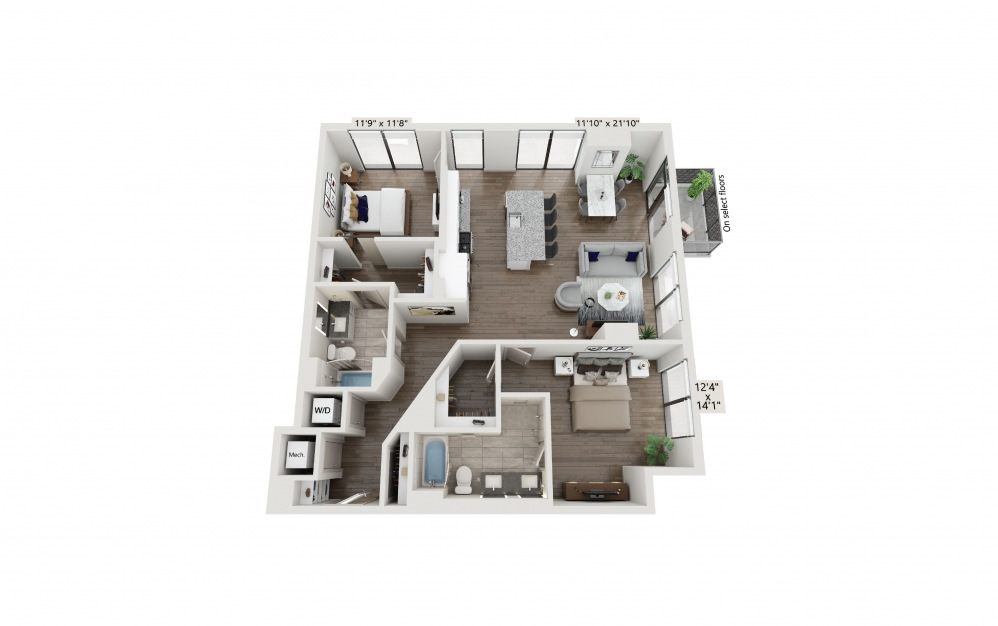 T-23 - 2 bedroom floorplan layout with 2 baths and 1333 square feet. (Preview)