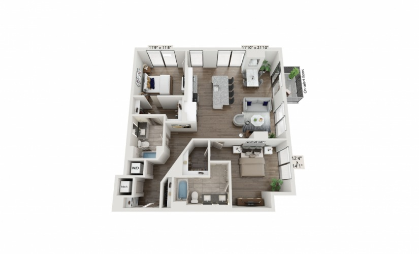 T-23 - 2 bedroom floorplan layout with 2 baths and 1333 square feet.