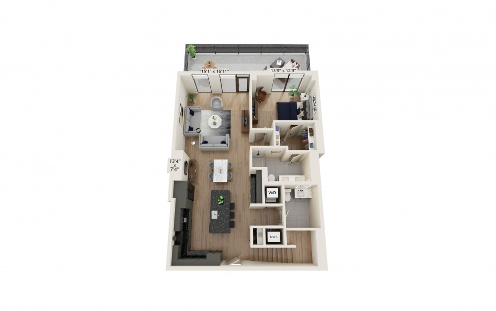 TH-01 - 3 bedroom floorplan layout with 3.5 baths and 2268 to 2310 square feet. (Preview)