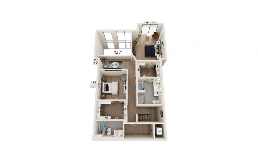 TH-01 - 3 bedroom floorplan layout with 3.5 baths and 2268 to 2310 square feet. (Floor 2)