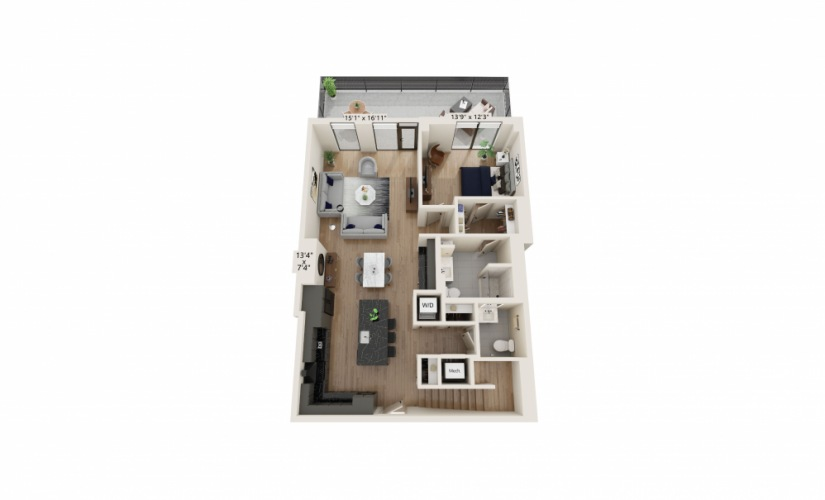 TH-03 - 3 bedroom floorplan layout with 3.5 baths and 2312 to 2386 square feet.