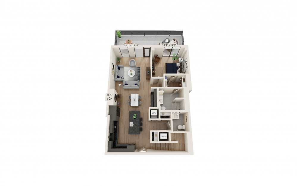 TH-03 - 3 bedroom floorplan layout with 3.5 baths and 2312 to 2386 square feet. (Preview)