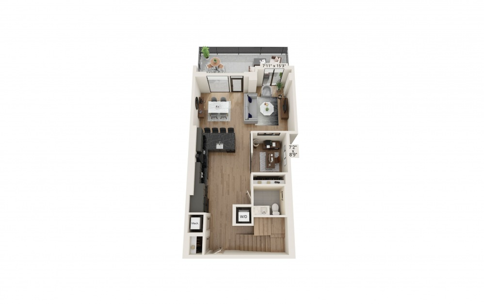 TH-08 - 2 bedroom floorplan layout with 2.5 baths and 1722 to 1725 square feet. (Preview)