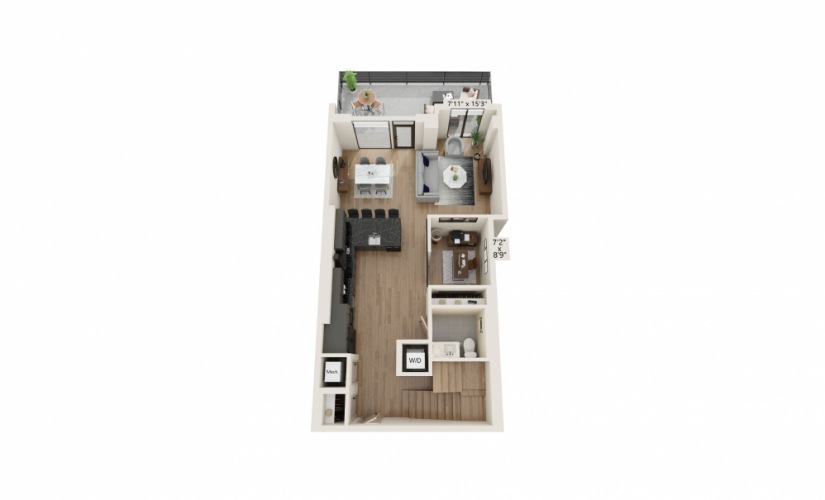 TH-08 - 2 bedroom floorplan layout with 2.5 baths and 1722 to 1725 square feet.