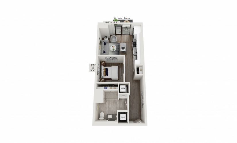 T-05 - Studio floorplan layout with 1 bath and 621 square feet.