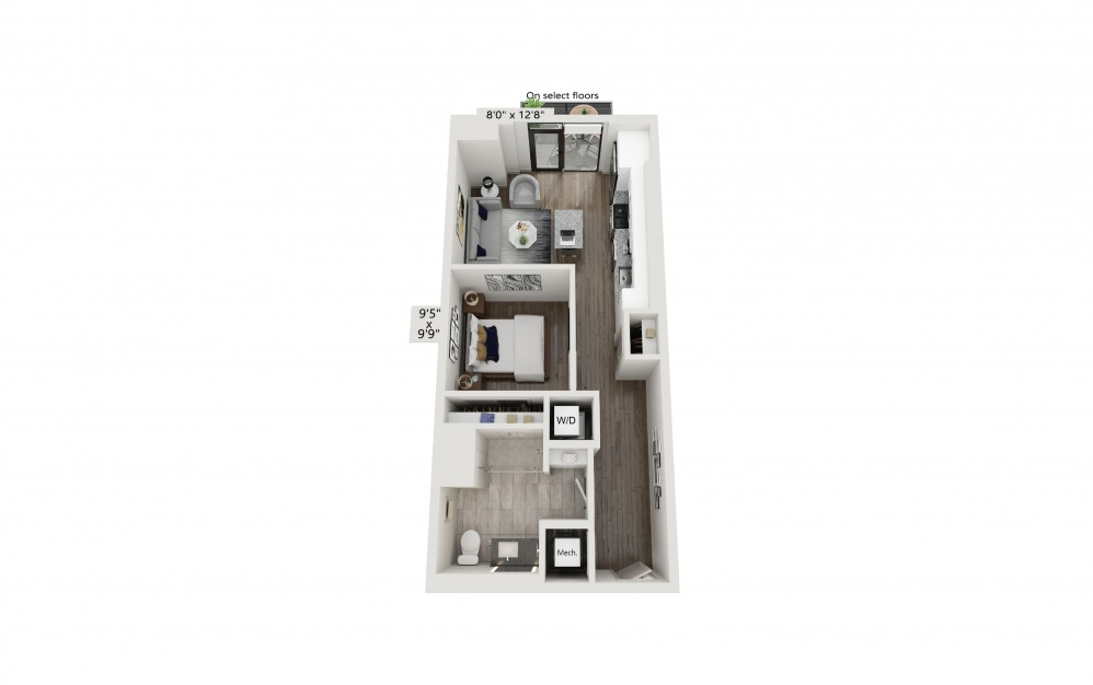 T-09/T-10/T-13/T-14/T-17 - Studio floorplan layout with 1 bath and 619 square feet. (Preview)