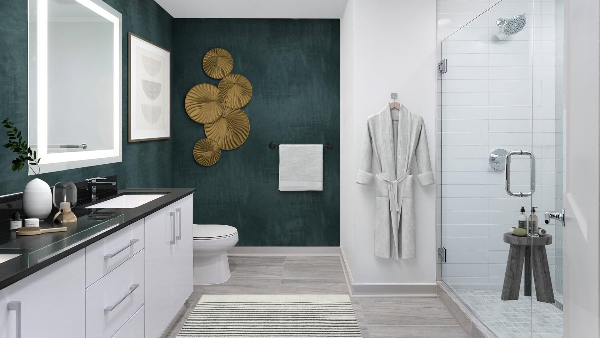 Halo-Lit Mirrors & Standalone Showers